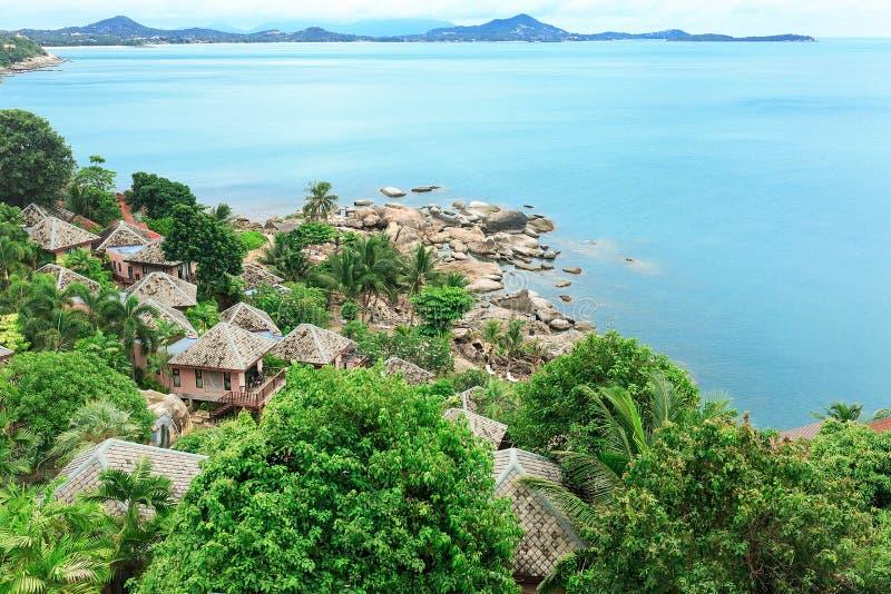 Pedras, areia, mar, palmas de coco, ilha, Tailândia, vista superior, bl fotografia de stock royalty free