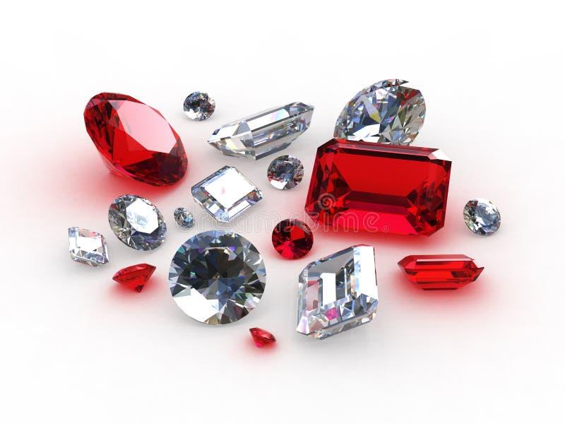 Pedras bonitas ajustadas do diamante e do rubi ilustração do vetor