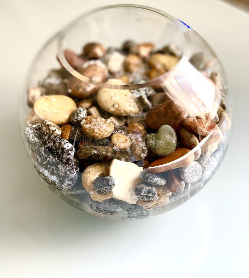 Pedras bonitas do mar no aquário, com grânulos brancos fotografia de stock royalty free