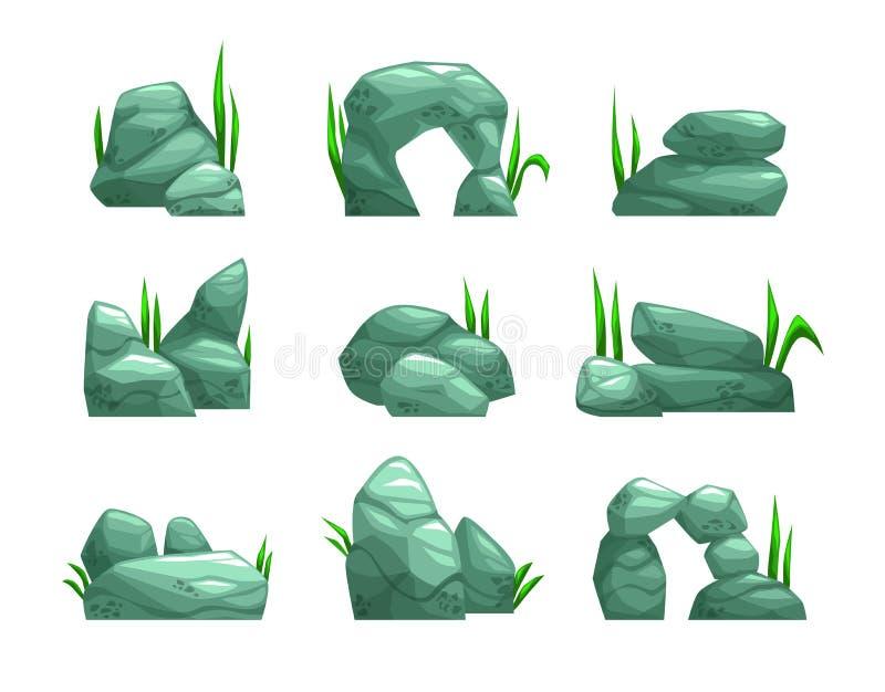 Pedras cinzentas dos desenhos animados ajustadas ilustração do vetor