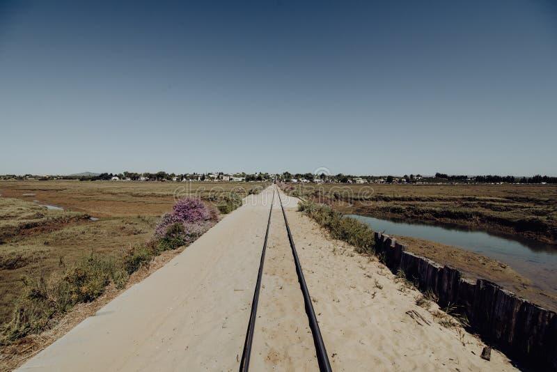 Pedras d在Tavira附近的` el Rei火车 导致在大西洋的南部的葡萄牙海岸的Barril海滩的轨道 免版税库存图片