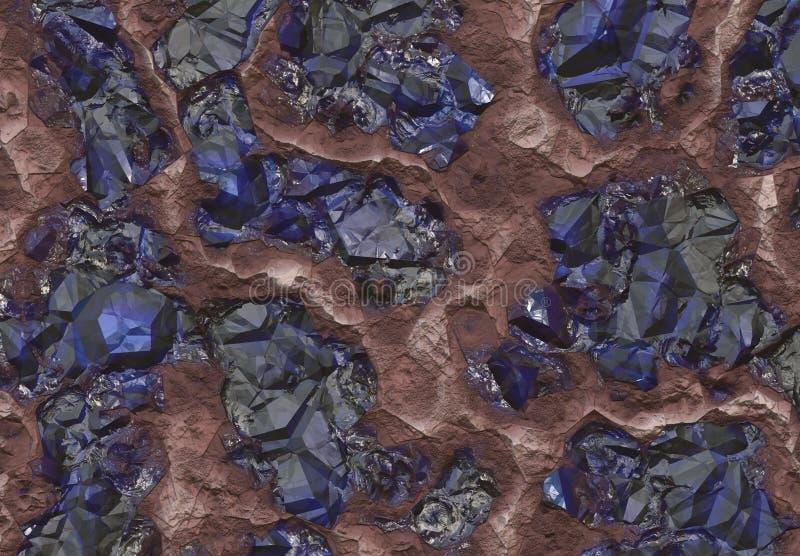 Pedras da safira descobertas dentro de uma mina ilustração royalty free