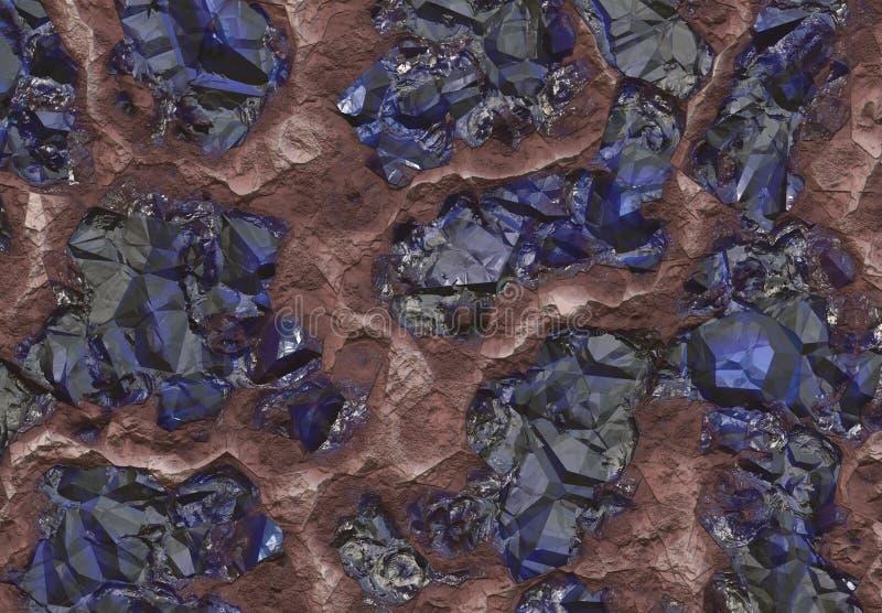 Pedras da safira enterradas dentro da terra ilustração stock