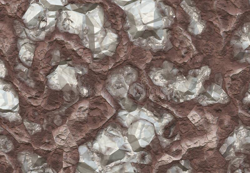 Pedras do diamante descobertas dentro de uma mina ilustração do vetor
