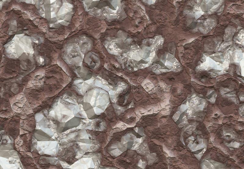 Pedras do diamante descobertas dentro do solo ilustração stock