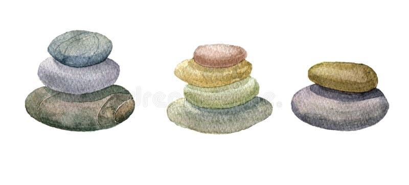 Pedras do mar da aquarela ilustração do vetor