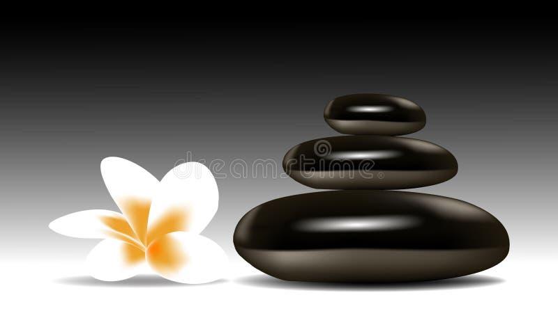 Pedras dos termas com flor ilustração do vetor