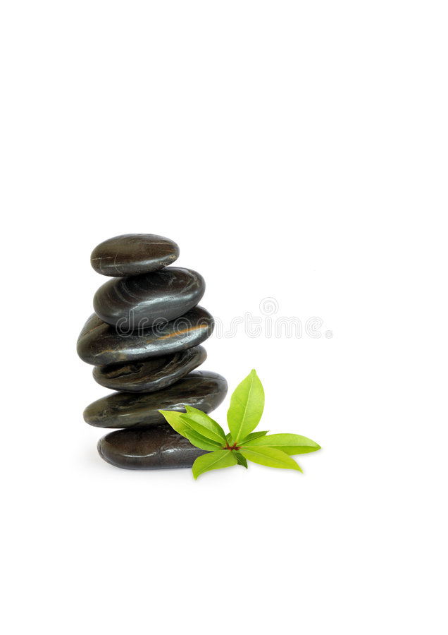 Pedras dos termas e erva da folha de louro fotografia de stock