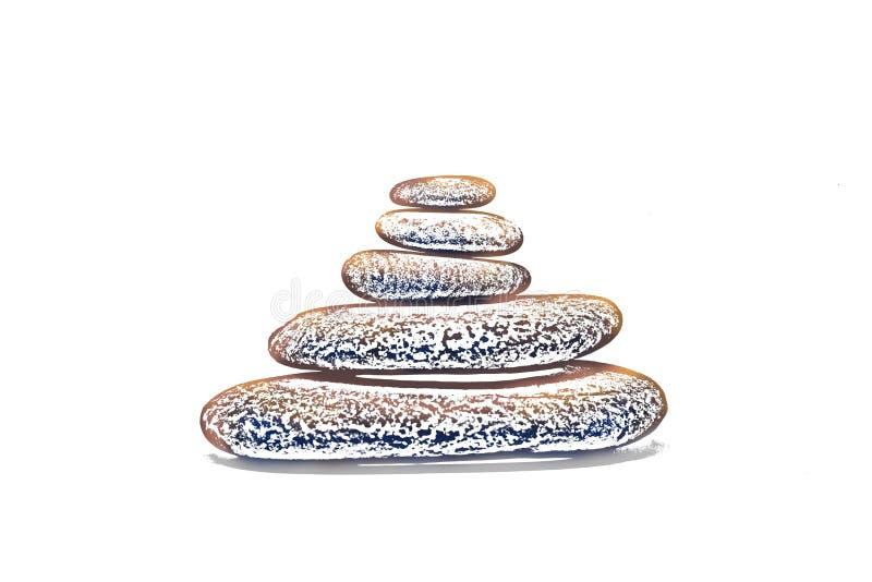 Pedras dos termas isoladas no fundo branco ilustração stock
