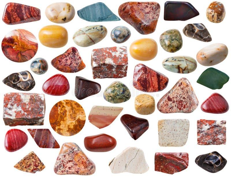 Pedras e rocha minerais naturais de gema do vário jaspe foto de stock royalty free