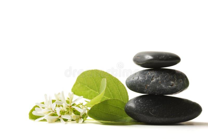 Pedras empilhadas com flor foto de stock