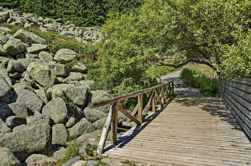 Pedras grandes do granito do rio de pedra original no rio rochoso com a ponte de madeira na montanha do parque nacional de Vitosh imagens de stock