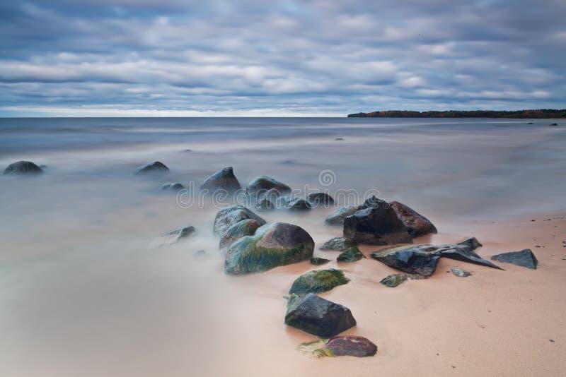 Pedras Molhadas Na Ressaca Do Lago Imagem de Stock Royalty Free