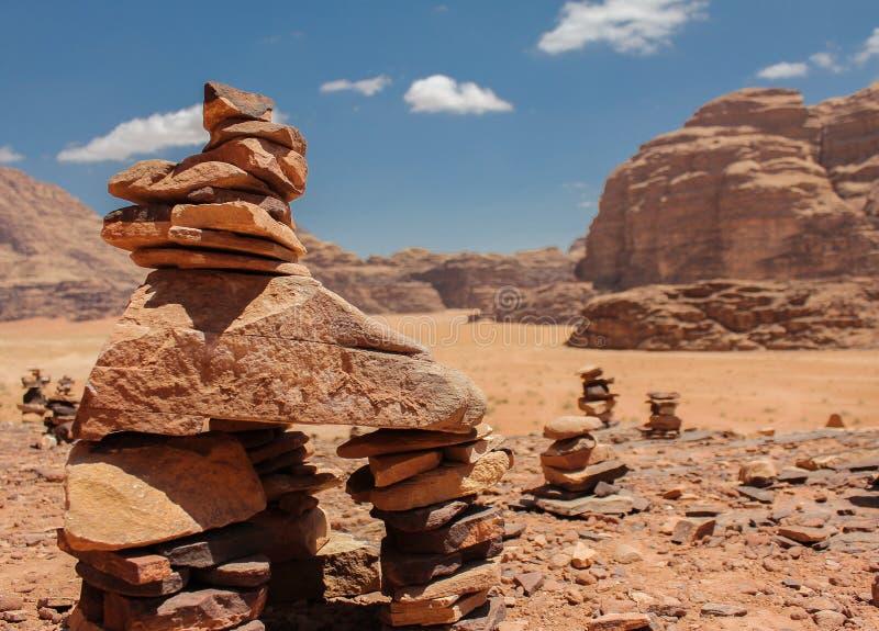 Pedras no deserto Wadi Rum imagem de stock royalty free