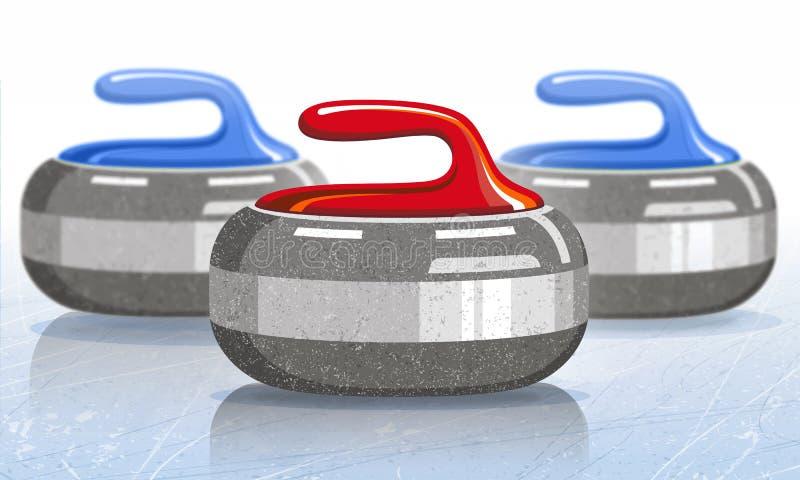 Pedras para o jogo de ondulação do esporte Gelo rink Ilustração do vetor ilustração stock