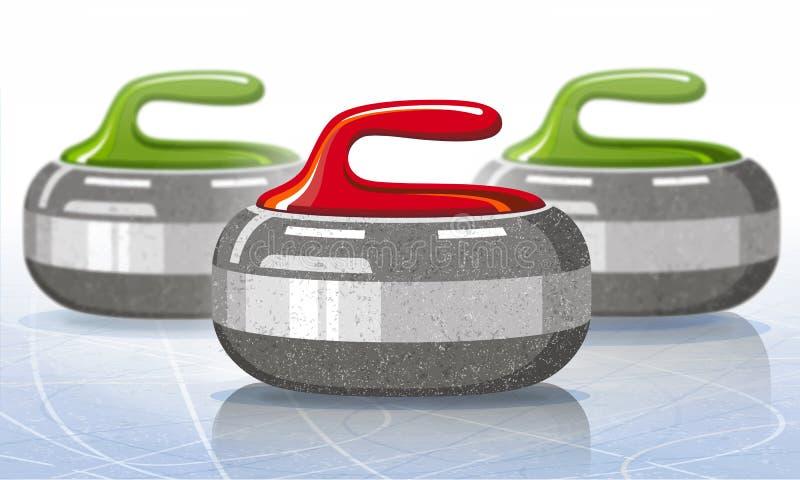Pedras para o jogo de ondulação do esporte Gelo rink Ilustração do vetor ilustração do vetor