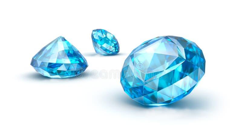Pedras preciosas azuis isoladas no branco. Safira. Topázio. Tanzanite ilustração royalty free