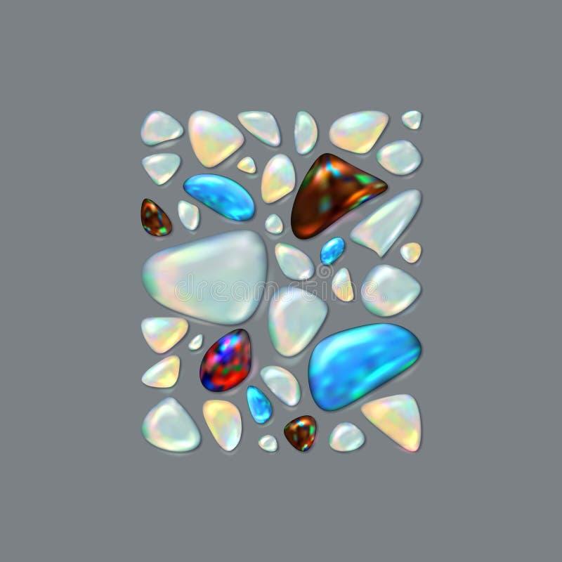Pedras preciosas realísticas da imagem Opala, turquesa, Sardonyx, pedra lunar, Moonstone ilustração do vetor