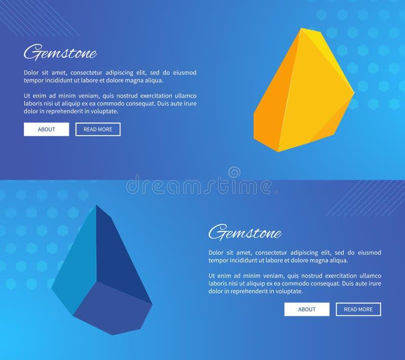 Pedras preciosas sem cortes em moldes dos cartazes do Internet ilustração stock