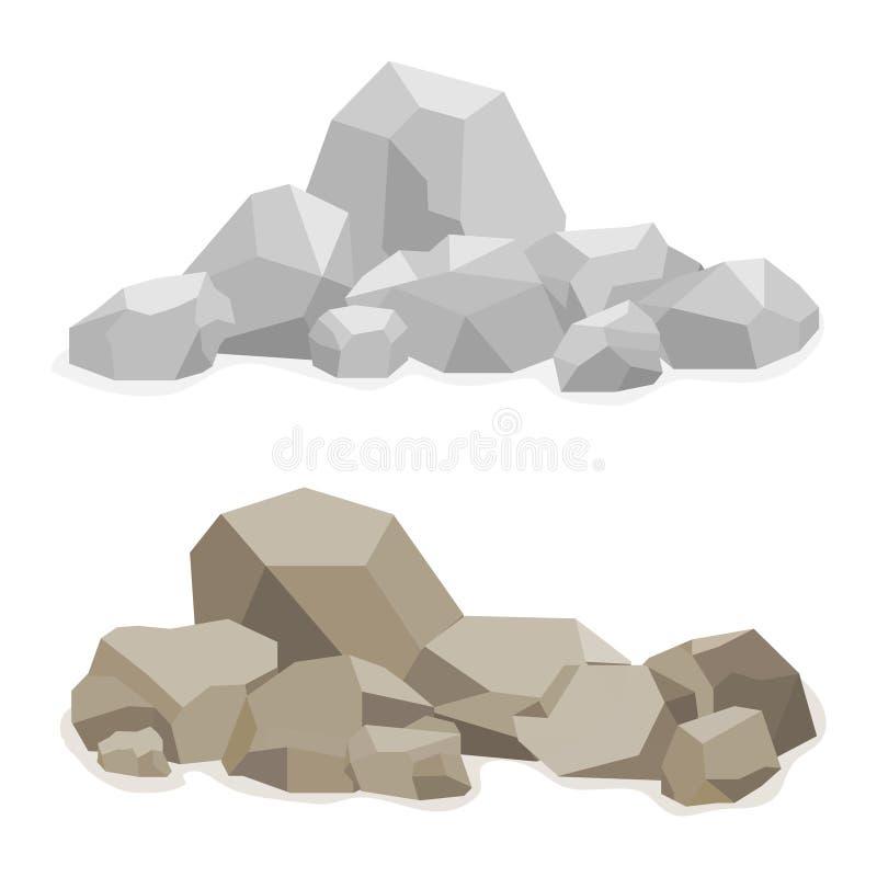 Pedras, um monte construído das pedras, muitas pedras ilustração do vetor