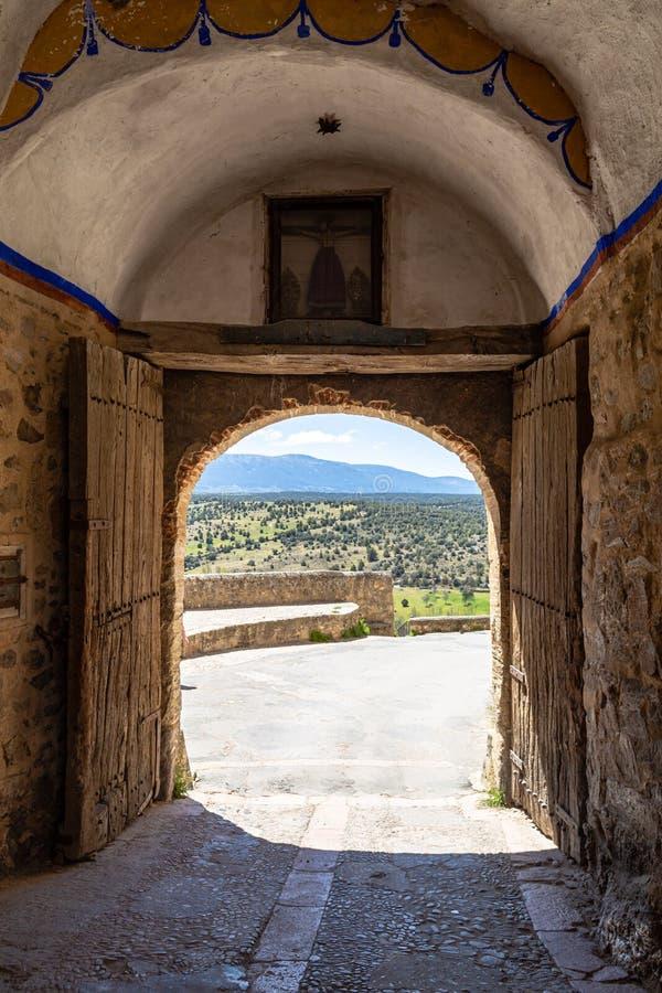 Pedraza, Castilla en Leon, Spanje: Puerta DE La Villa, de ingangspoort van de kleine stad royalty-vrije stock foto's
