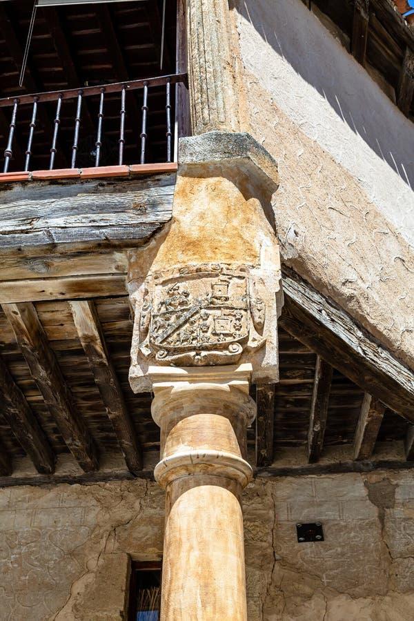 Pedraza, Castilla Y Leon, Spain: Heraldic crest detail in Plaza Mayor. royalty free stock photo