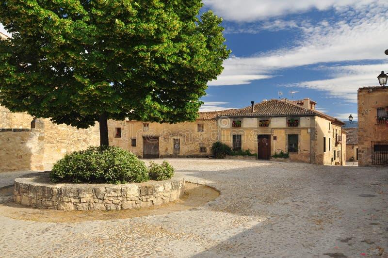 Pedraza, Olivenölseife, Spanien. Dorfquadrat stockfotografie