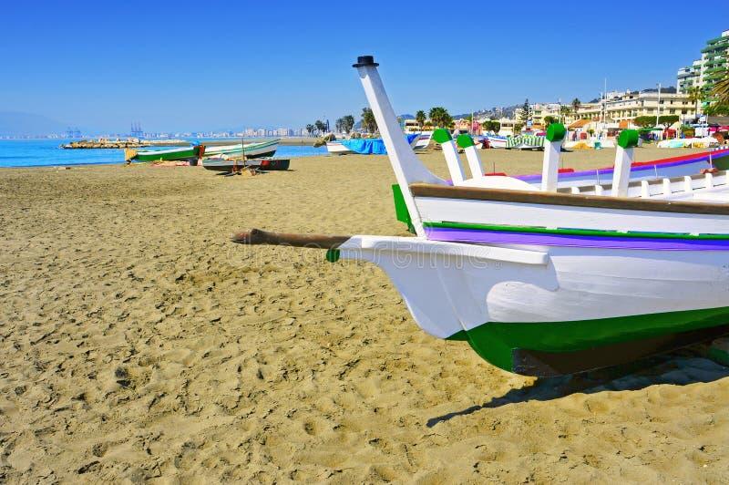 Pedregalejo strand i Malaga, Spanien fotografering för bildbyråer