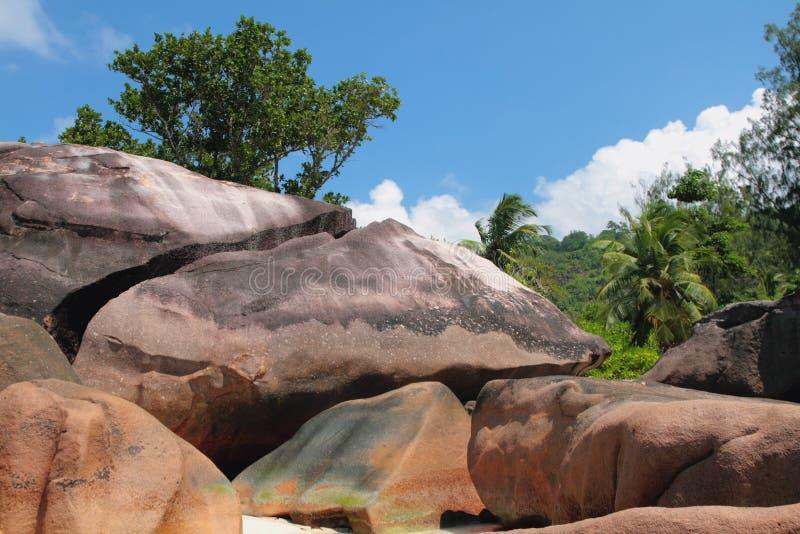Pedregulhos do basalto Baie Lazare, Mahe, Seychelles fotos de stock