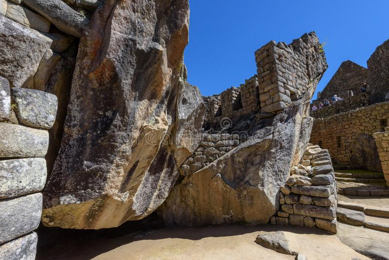 Pedregulhos e paredes em Machu Picchu imagem de stock royalty free