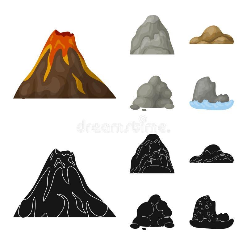 Pedregulhos, uma montanha arredondada, rochas no mar As montanhas diferentes ajustaram ícones da coleção nos desenhos animados, v ilustração do vetor
