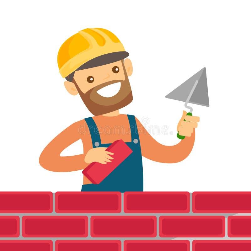 Pedreiro branco caucasiano que constrói uma parede de tijolo ilustração stock