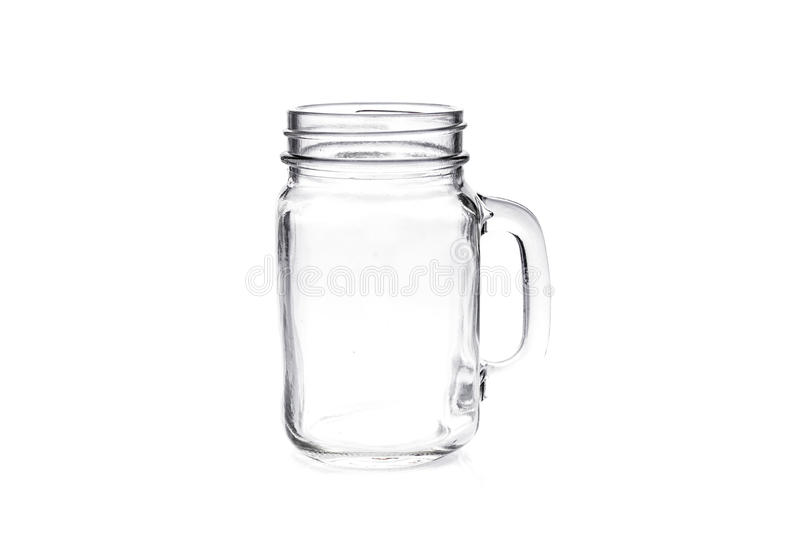 Pedreiro vazio Jar do vintage isolado no fundo branco foto de stock royalty free