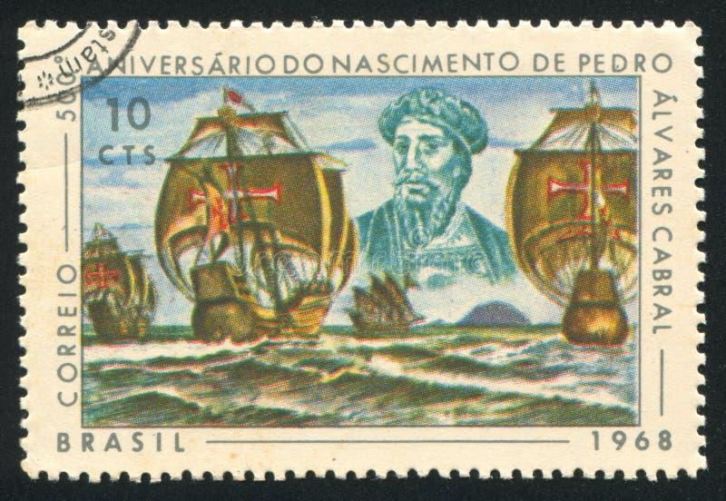 Pedro Alvares Cabral et sa flotte photo libre de droits