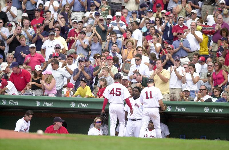 Pedro Leaves the Game. Pedro Martinez gets a standing ovation as he exits a game. Image taken from a color slide royalty free stock photo