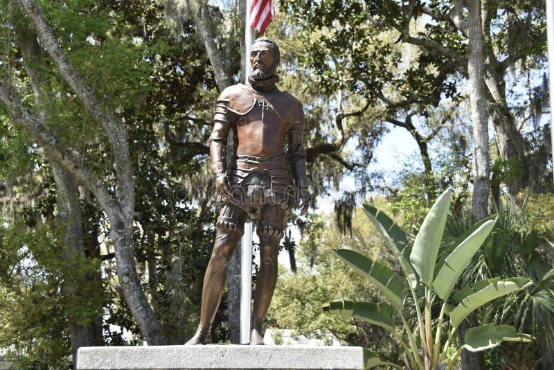 Pedro Menéndez de Avilés Statue, St Augustine, Florida fotografia stock
