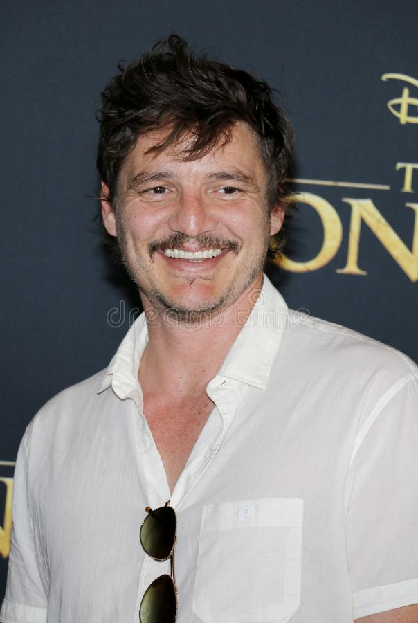 Pedro Pascal. At the World premiere of `The Lion King` held at the Dolby Theatre in Hollywood, USA on July 9, 2019 stock image