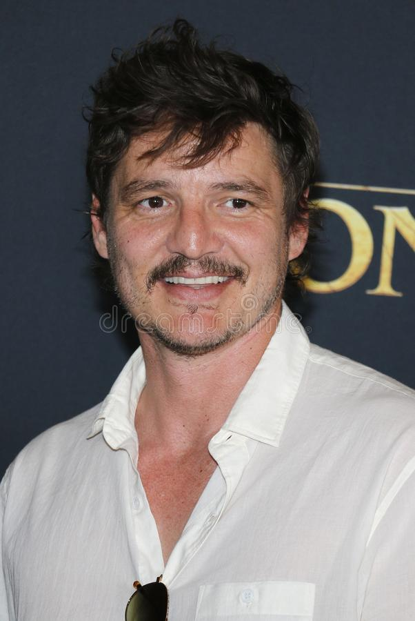 Pedro Pascal. At the World premiere of `The Lion King` held at the Dolby Theatre in Hollywood, USA on July 9, 2019 stock photos