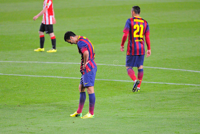 Pedro Rodriguez, F Jugador de C Barcelona, en la acción contra el Athletic de Bilbao imagen de archivo libre de regalías