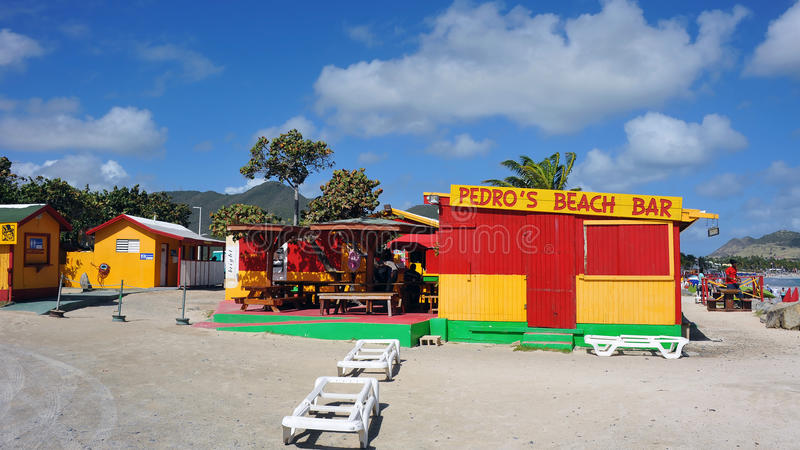 Pedro`s Beach Bar in St. Martin royalty free stock image