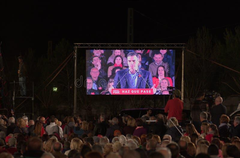 Pedro Sanchez die een toespraak in Valencia geven royalty-vrije stock foto