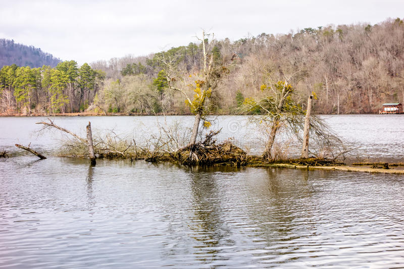 Pee dee and yadkin river flowing through uwharrie mountains royalty free stock image