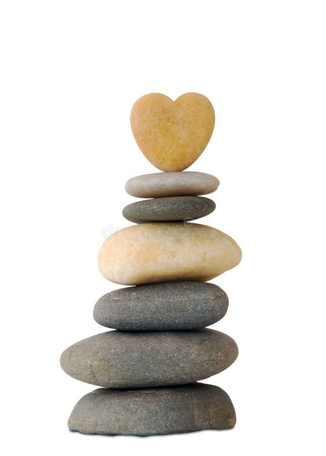Peeble zen heart royalty free stock images