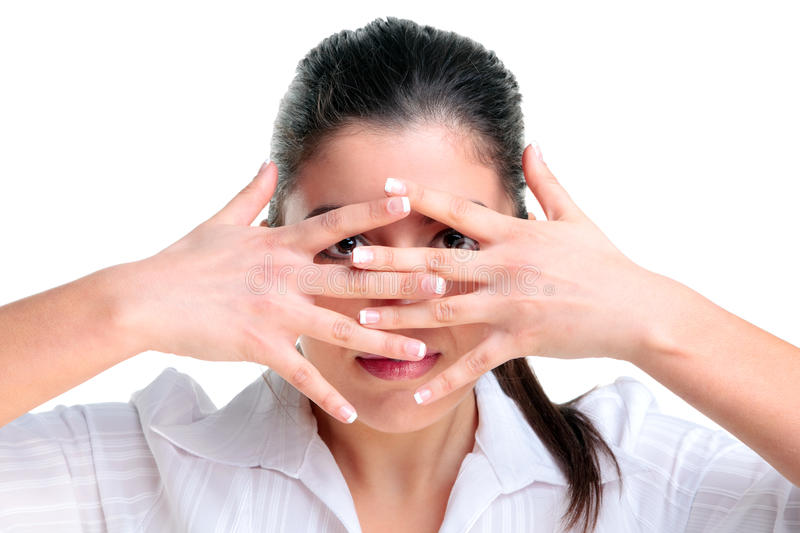 Download Peek a boo stock photo. Image of brunette, white, background - 10459326