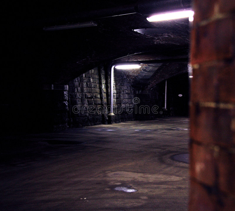 Peek-a-boo. Old railway viaduct and the feeling that someone is watching you; iso 1600 noise stock images
