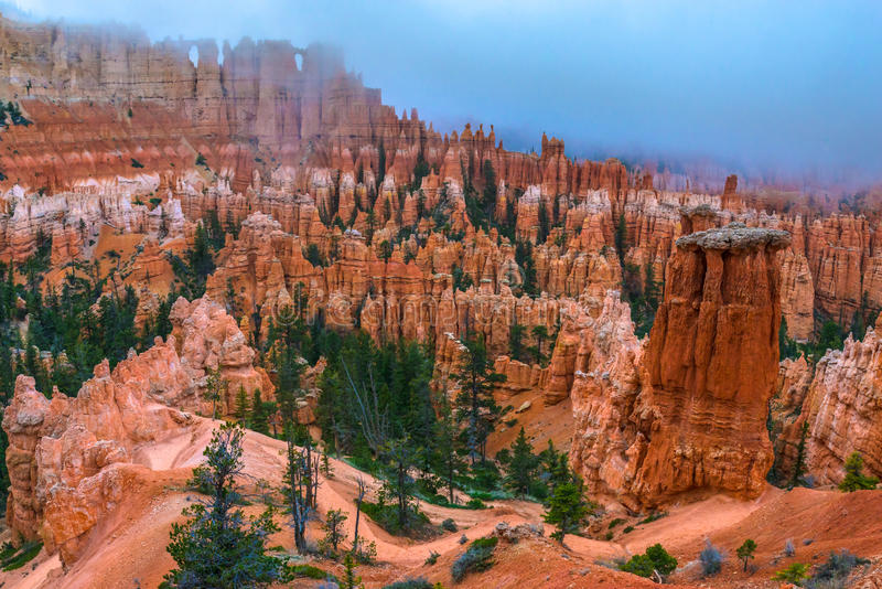 Peek-a-boo loop trail Bryce Canyon. Looking down a winding Peek-a-boo loop trail Bryce Canyon stock images