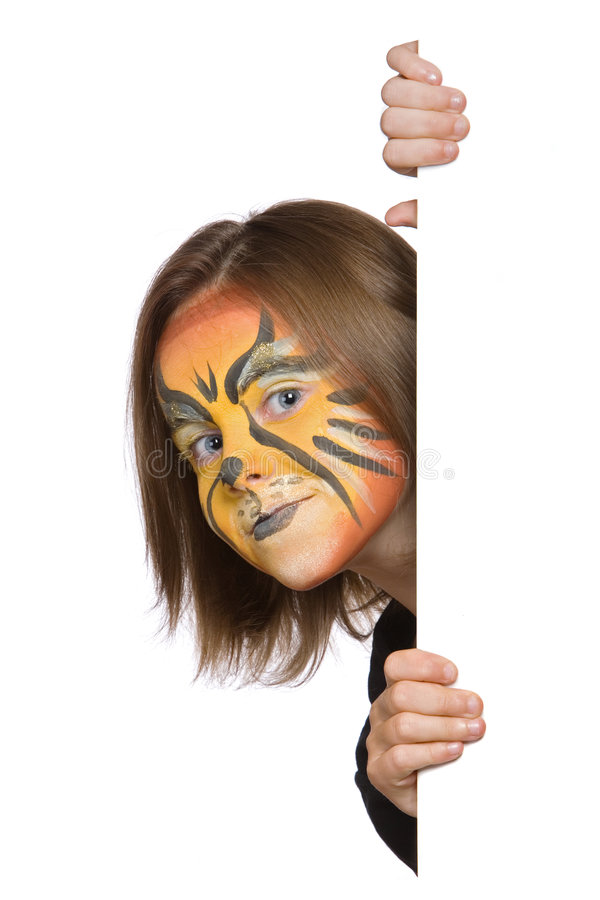 Peek a booh banner. Banner of girl with face paint of lion stock photo