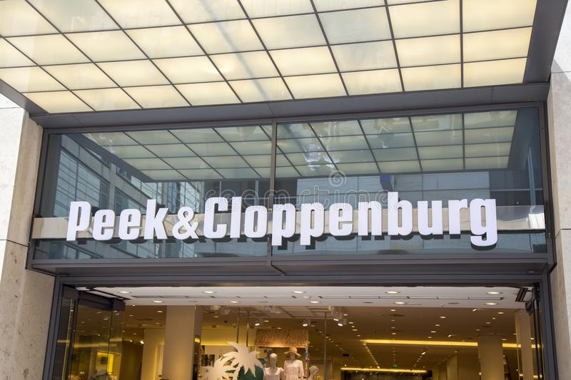 Peek & Cloppenburg store sign. DRESDEN, GERMANY - JUNE 10, 2017: Peek & Cloppenburg store sign, is an international chain of retail clothing stores with royalty free stock images