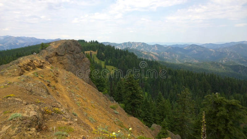 On peek of Red Top Lookout mountain. Red Top Lookout mountain, WA stock image