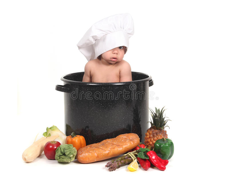 peeking шлема шеф-повара младенца стоковое изображение rf